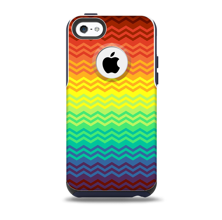 buy popular b1902 9fe19 The Rainbow Thin Lined Chevron Pattern Skin for the iPhone 5c OtterBox  Commuter Case