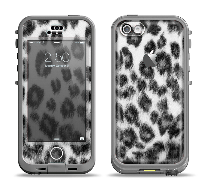 The Real Snow Leopard Hide Apple iPhone 5c LifeProof Nuud Case Skin Set