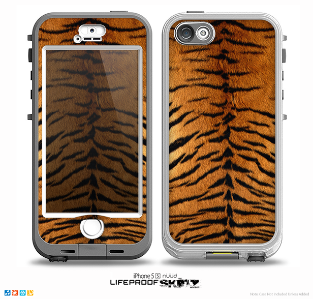 The Real Tiger Print Texture Skin for the iPhone 5-5s NUUD LifeProof Case for the LifeProof Skin