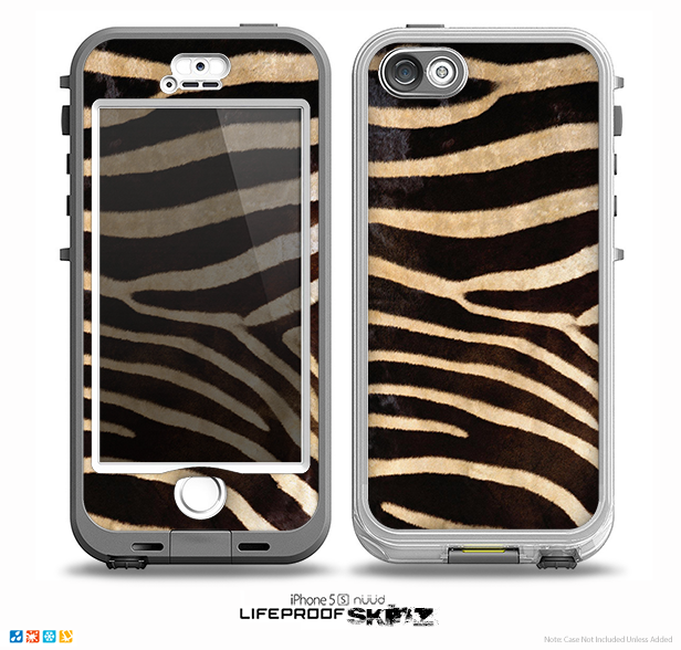 The Real Zebra Print Texture Skin for the iPhone 5-5s NUUD LifeProof Case for the LifeProof Skin