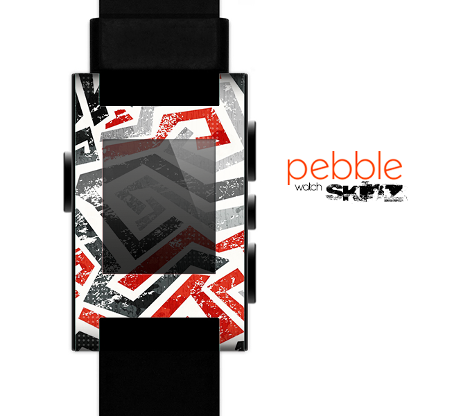 The Red-Gray-Black Abstract V3 Pattern Skin for the Pebble SmartWatch