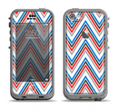 The Red-White-Blue Sharp Chevron Pattern Apple iPhone 5c LifeProof Nuud Case Skin Set