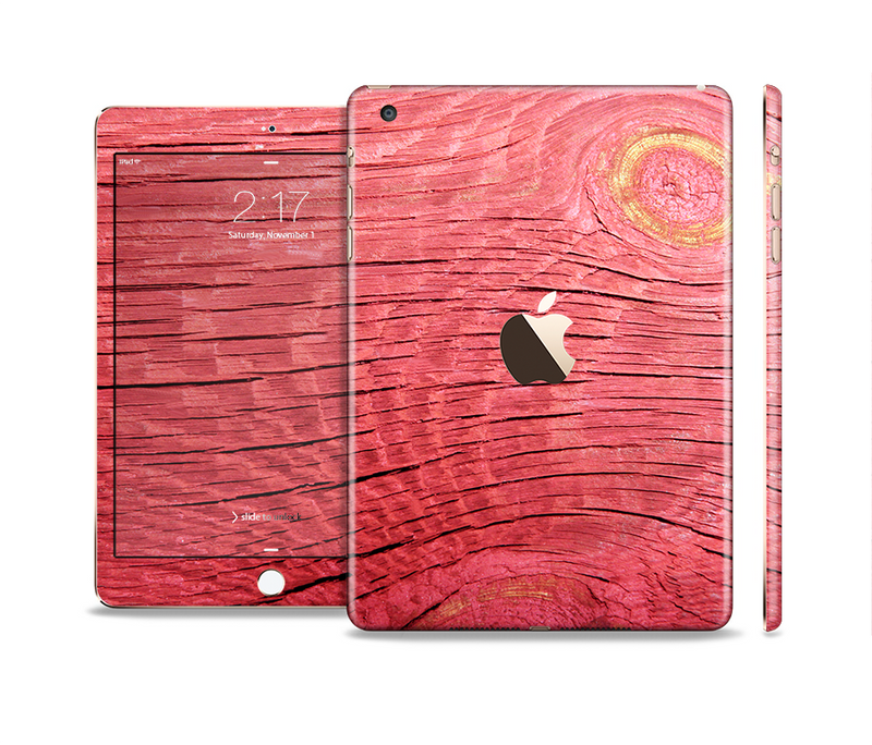 The Red-Wood with Yellow Knot Full Body Skin Set for the Apple iPad Mini 3