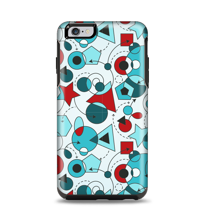 The Red & Blue Abstract Shapes Apple iPhone 6 Plus Otterbox Symmetry Case Skin Set