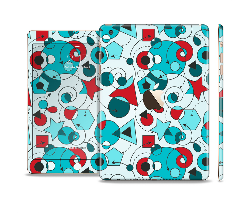 The Red & Blue Abstract Shapes Full Body Skin Set for the Apple iPad Mini 3