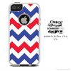 The Red & Blue Chevron Skin For The iPhone 4-4s or 5-5s Otterbox Commuter Case