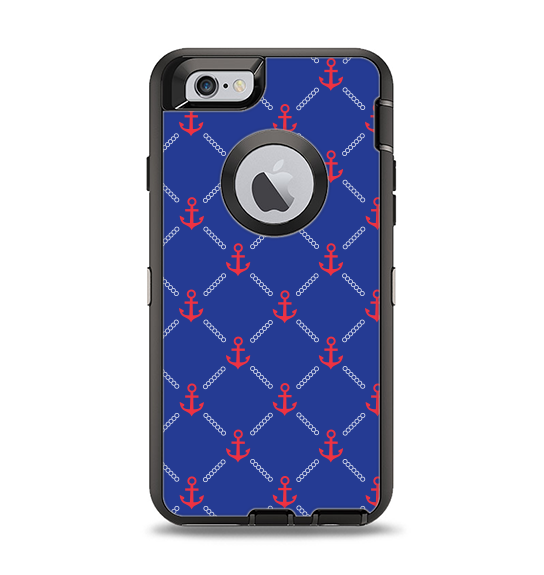 The Red & Blue Seamless Anchor Pattern Apple iPhone 6 Otterbox Defender Case Skin Set