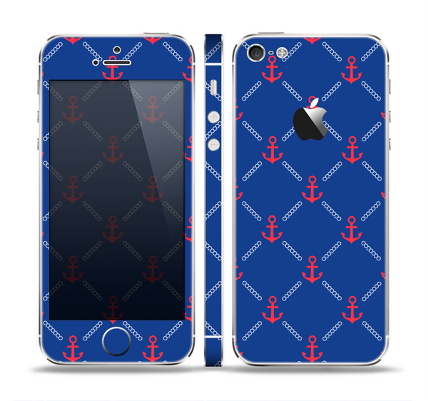 The Red & Blue Seamless Anchor Pattern Skin Set for the Apple iPhone 5