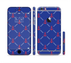 The Red & Blue Seamless Anchor Pattern Sectioned Skin Series for the Apple iPhone 6 Plus