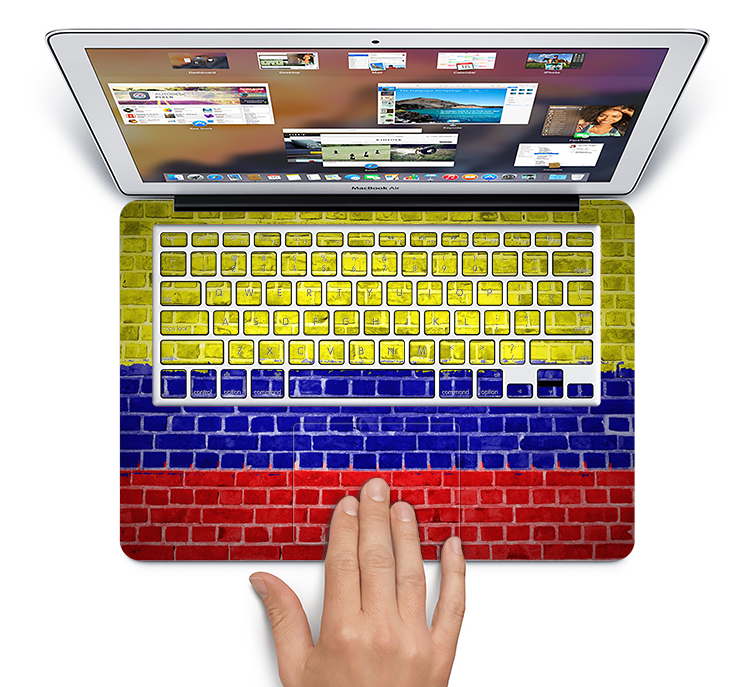 "The Red, Blue and Yellow Vibrant Brick Wall Skin Set for the Apple MacBook Pro 15"" with Retina Display"
