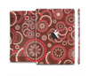 The Red & Brown Creative Flower Pattern Skin Set for the Apple iPad Mini 4