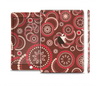 The Red & Brown Creative Flower Pattern Full Body Skin Set for the Apple iPad Mini 3