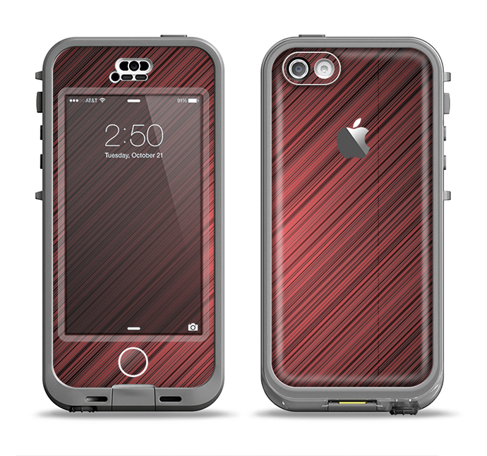 The Red Diagonal Thin HD Stripes Apple iPhone 5c LifeProof Nuud Case Skin Set