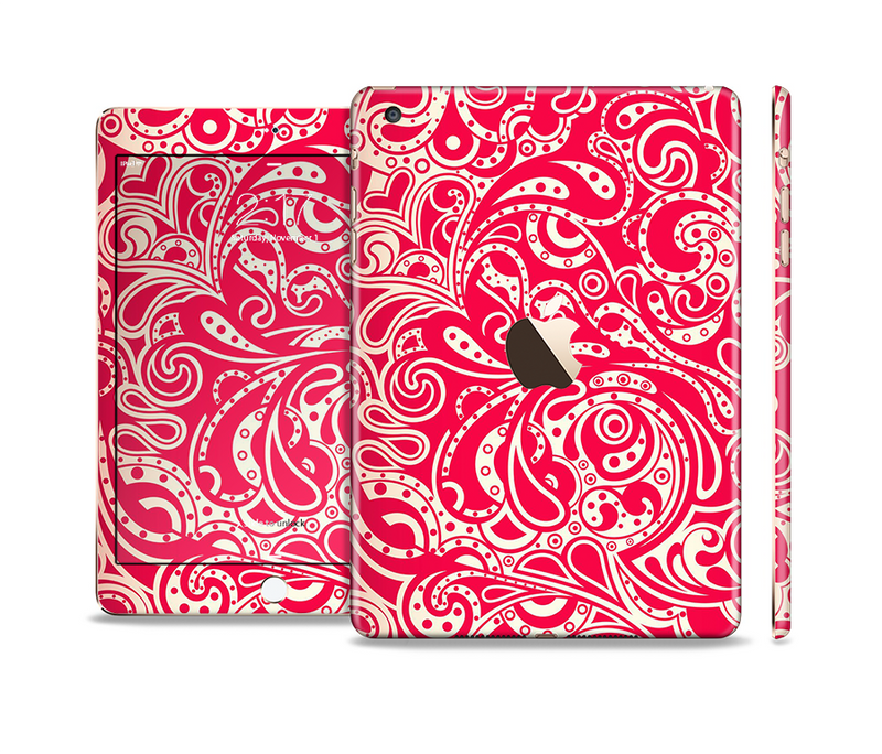 The Red Floral Paisley Pattern Full Body Skin Set for the Apple iPad Mini 3
