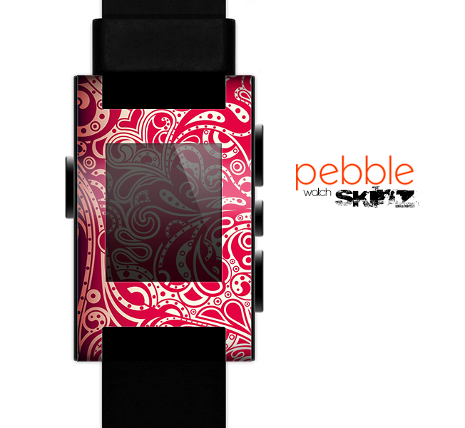 The Red Floral Paisley Pattern Skin for the Pebble SmartWatch