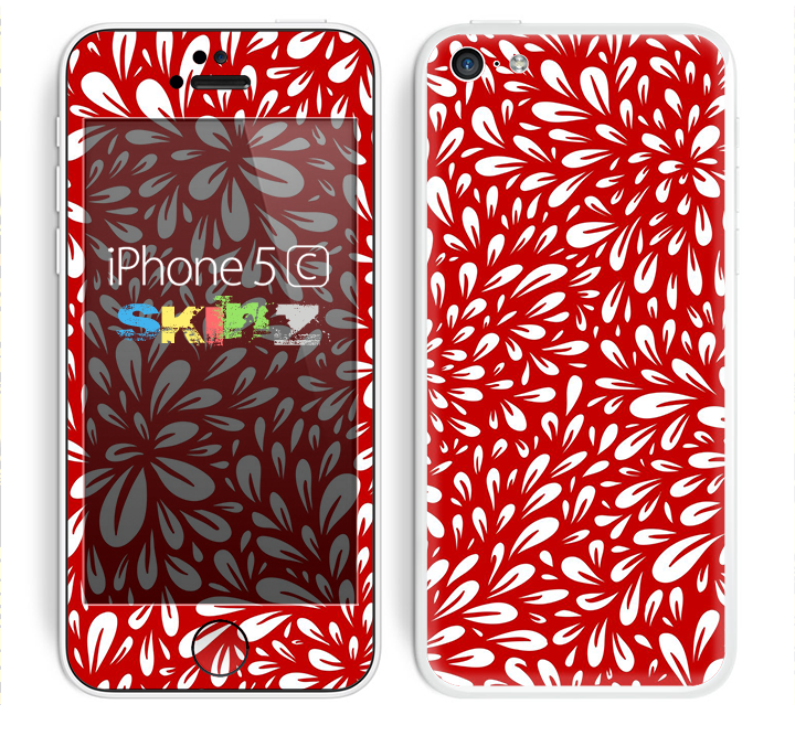 The Red Floral Sprout Skin for the Apple iPhone 5c