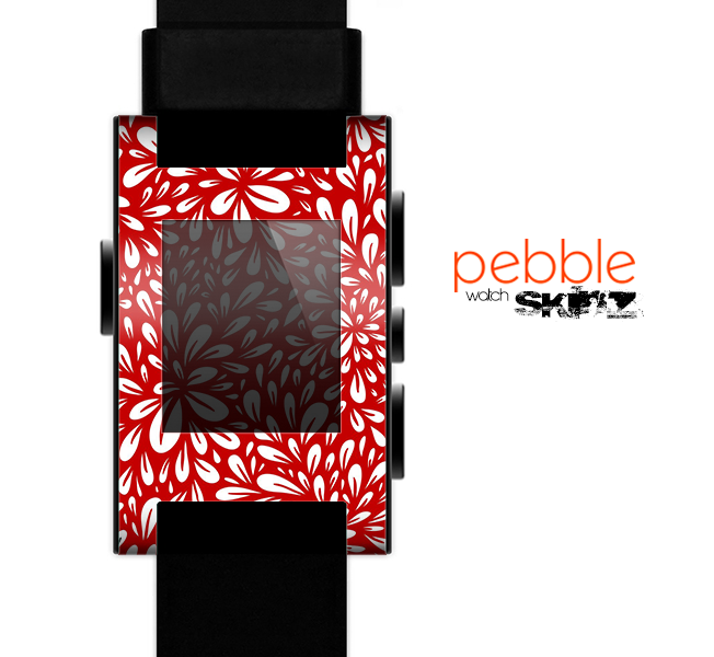 The Red Floral Sprout Skin for the Pebble SmartWatch