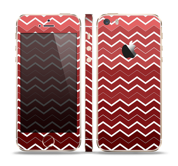The Red Gradient Layered Chevron Skin Set for the Apple iPhone 5s