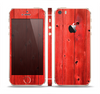 The Red Highlighted Wooden Planks Skin Set for the Apple iPhone 5s