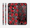 The Red Icon Flowers on Dark Swirl Skin for the Apple iPhone 6