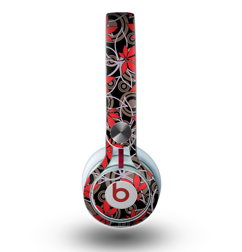The Red Icon Flowers on Dark Swirl Skin for the Beats by Dre Mixr Headphones