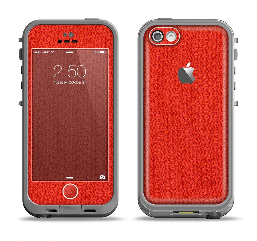 The Red Jersey Texture Apple iPhone 5c LifeProof Fre Case Skin Set