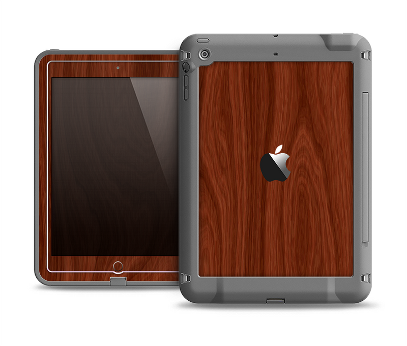The Red Mahogany Wood Apple iPad Air LifeProof Fre Case Skin Set