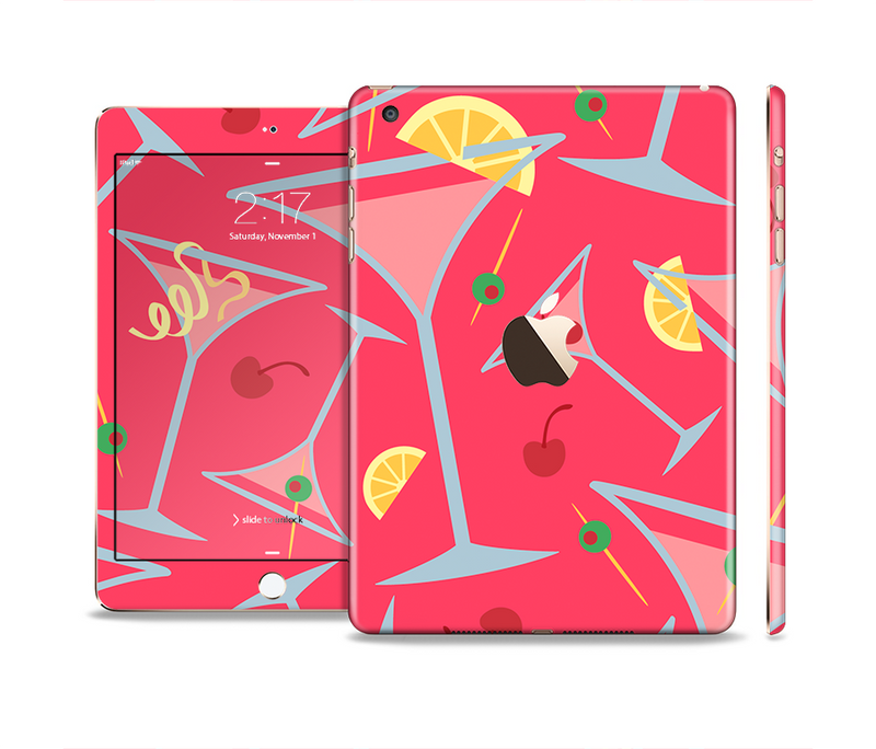 The Red Martini Drinks With Lemons Full Body Skin Set for the Apple iPad Mini 3