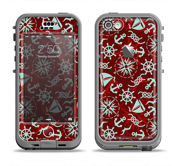 The Red Nautica Collage Apple iPhone 5c LifeProof Nuud Case Skin Set