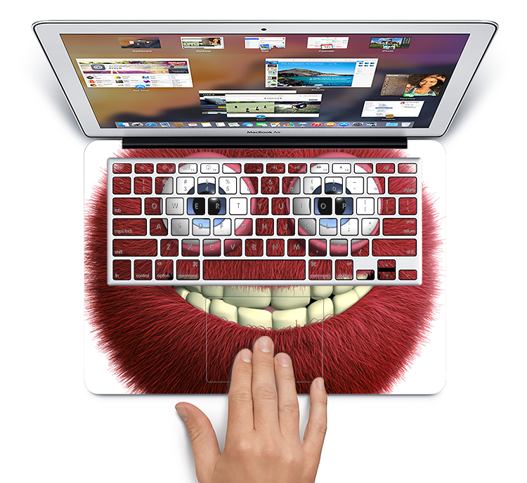 "The Red Smiling Fuzzy Wuzzy Skin Set for the Apple MacBook Pro 15"" with Retina Display"