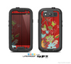 The Red Striped Vector Floral Design Skin For The Samsung Galaxy S3 LifeProof Case
