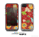 The Red Striped Vector Floral Design Skin for the Apple iPhone 5c LifeProof Case