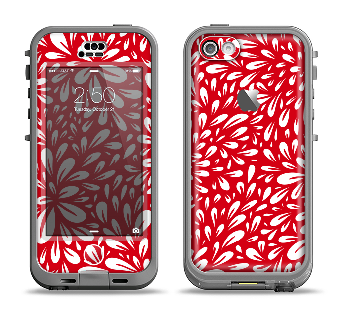 The Red Vector Floral Sprout Apple iPhone 5c LifeProof Nuud Case Skin Set