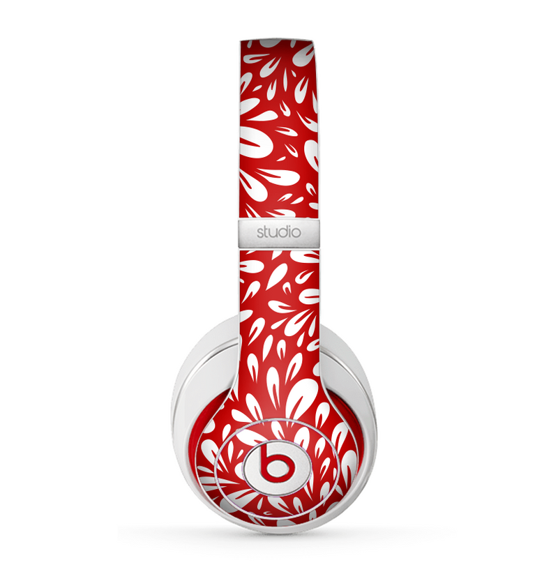 The Red Vector Floral Sprout Skin for the Beats by Dre Studio (2013+ Version) Headphones