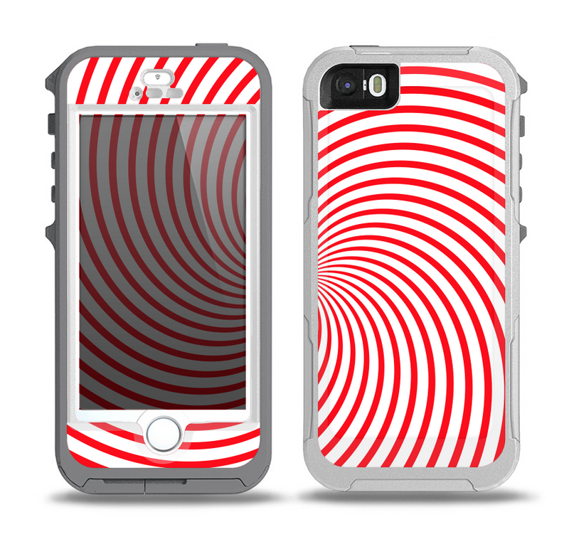 The Red & White Hypnotic Swirl Skin for the iPhone 5-5s OtterBox Preserver WaterProof Case