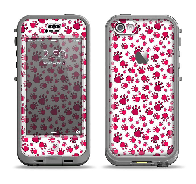 The Red & White Paw Prints Apple iPhone 5c LifeProof Nuud Case Skin Set