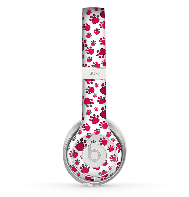 The Red & White Paw Prints Skin for the Beats by Dre Solo 2 Headphones