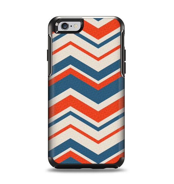 The Red, White and Blue Textile Chevron Pattern Apple iPhone 6 Otterbox Symmetry Case Skin Set