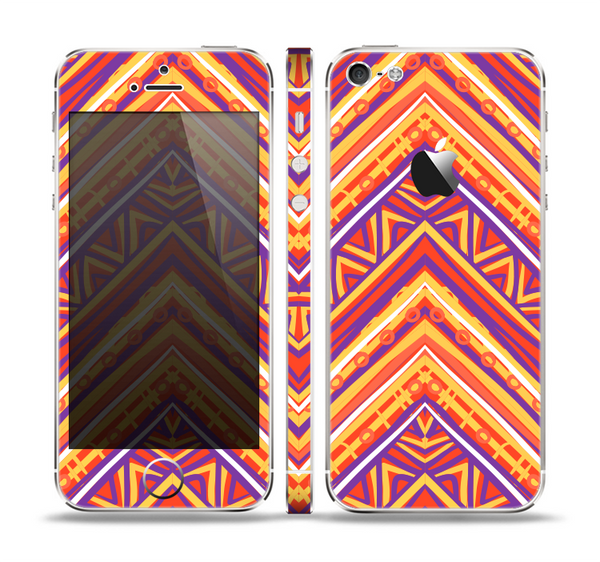 The Red, Yellow and Purple Vibrant Aztec Zigzags Skin Set for the Apple iPhone 5