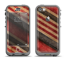 The Red and Black Striped Fabric Apple iPhone 5c LifeProof Nuud Case Skin Set