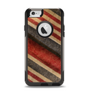 The Red and Black Striped Fabric Apple iPhone 6 Otterbox Commuter Case Skin Set