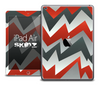 The Red and Gray Abstract Zig Zag Skin for the iPad Air