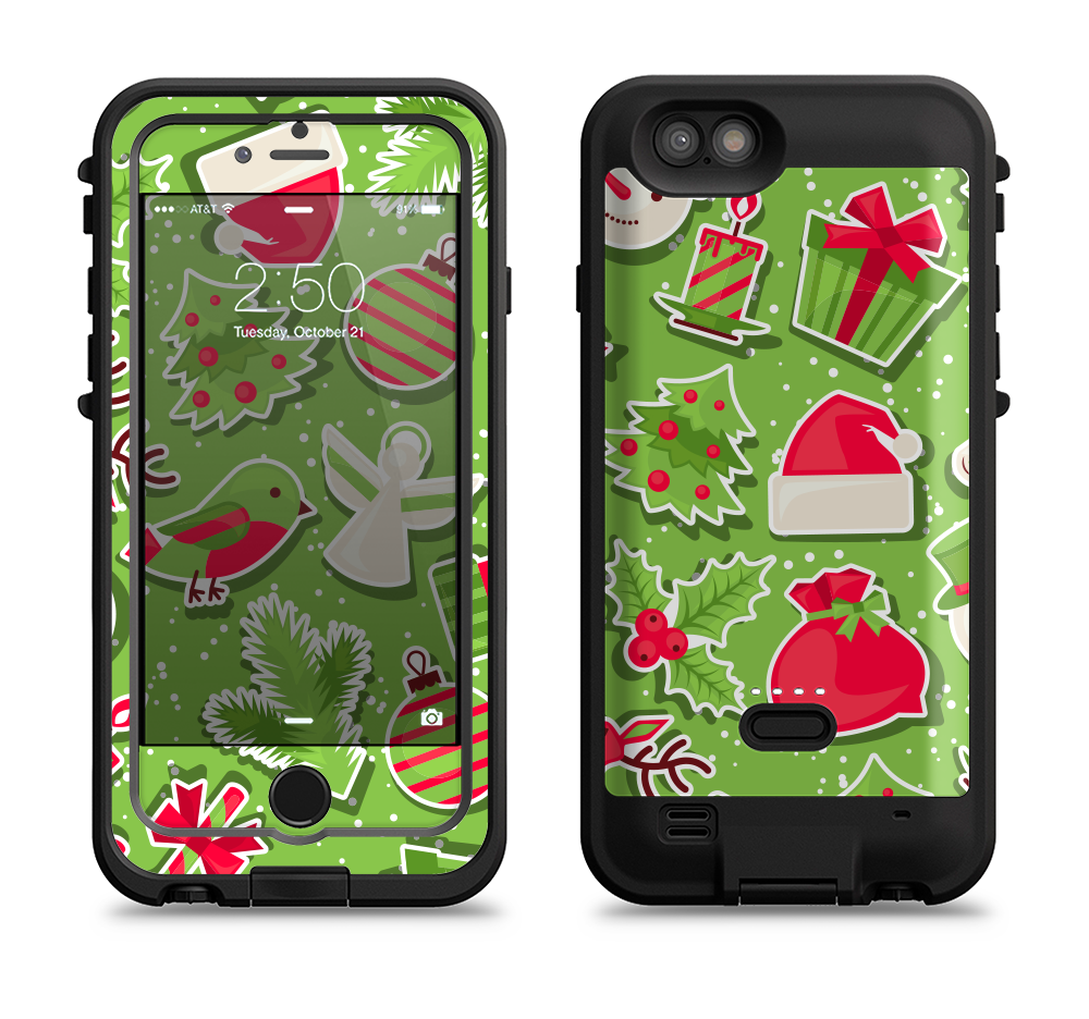 the red and green christmas icons iPhone 6 6s Plus LifeProof Fre POWER Case Skin  Kit - DesignSkinz e6ff2b963