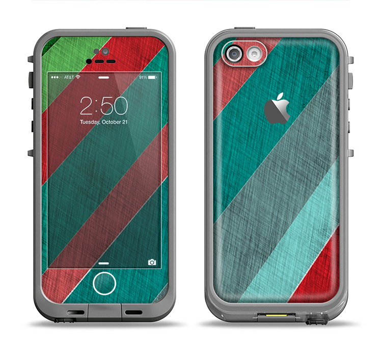 The Red and Green Diagonal Stripes Apple iPhone 5c LifeProof Fre Case Skin Set