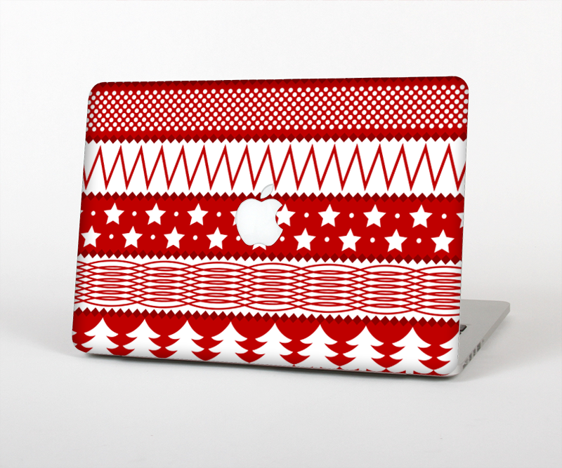 "The Red and White Christmas Pattern Skin Set for the Apple MacBook Pro 15"" with Retina Display"