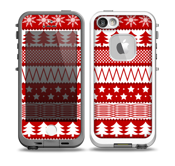 The Red and White Christmas Pattern Skin for the iPhone 5-5s fre LifeProof Case
