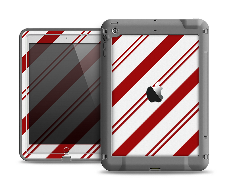 The Red and White Slanted Vector Stripes Apple iPad Air LifeProof Fre Case Skin Set