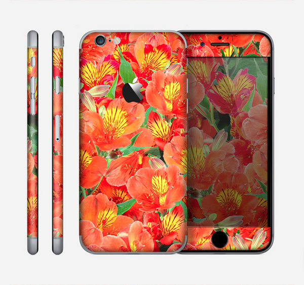 The Red and Yellow Watercolor Flowers Skin for the Apple iPhone 6