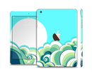 The Retro Blue Vintage Vector Wave Full Body Skin Set for the Apple iPad Mini 3