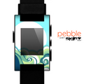 The Retro Blue Vintage Vector Wave Skin for the Pebble SmartWatch